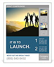 Silhouette of a team of people climbing to the top of the mountain Poster Template
