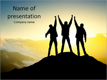 Silhouette of a team of people climbing to the top of the mountain PowerPoint Template