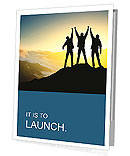Silhouette of a team of people climbing to the top of the mountain Presentation Folder