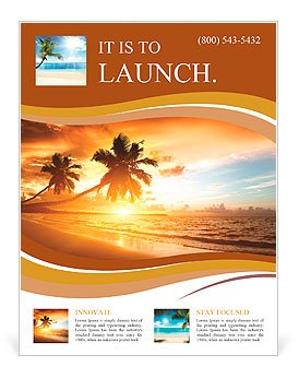 Sunset on the beach Flyer Template & Design ID 0000010483 ...