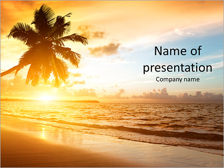 Sunset on the beach powerpoint template backgrounds id sunset on the beach powerpoint templates toneelgroepblik Choice Image