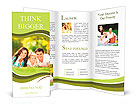 Happy couple with a baby on the grass Brochure Templates