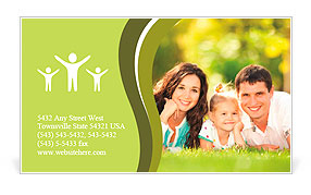 Happy couple with a baby on the grass Business Card Template