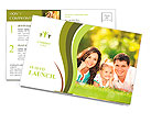 Happy couple with a baby on the grass Postcard Template