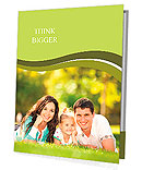 Happy couple with a baby on the grass Presentation Folder