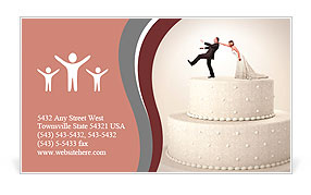 Cake business card template smiletemplates the groom runs away from the bride on a wedding cake business card template accmission Choice Image