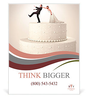 the groom runs away from the bride on a wedding cake poster template