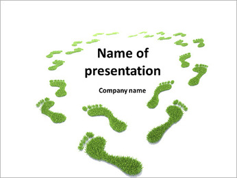 Green traces of man on a white background PowerPoint Template