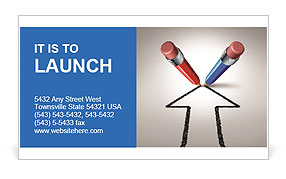 Red and blue pencils together for a common goal Business Card Template