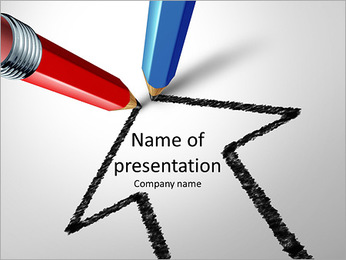 Red and blue pencils together for a common goal PowerPoint Template