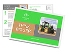 The tractor is on the field Postcard Template