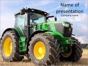 Le tracteur est sur le terrain Modèles des présentations  PowerPoint