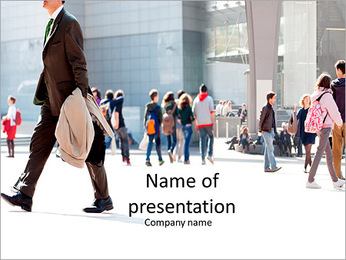 People walk on the street PowerPoint Template