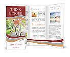 A girl rides a bicycle Brochure Templates