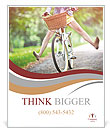 A girl rides a bicycle Poster Template