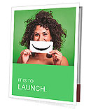Curly girl holding a sign with a smile Presentation Folder