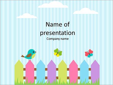 Scrapbook powerpoint template smiletemplates cartoon bird on a colorful fence powerpoint templates toneelgroepblik Image collections