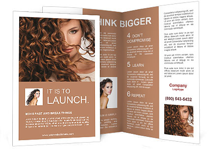 Face Of Beautiful Girl With Curly Hair Brochure Template Design - Beautiful brochure templates