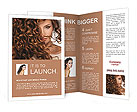 Face of beautiful girl with curly hair Brochure Templates