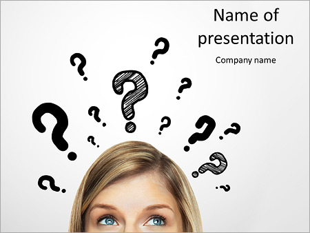 Thinking Women With Question Mark On White Background Powerpoint
