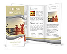 Young people having fun in the sea at sunset Brochure Template