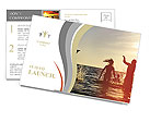 Young people having fun in the sea at sunset Postcard Template