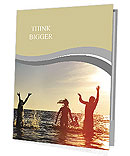 Young people having fun in the sea at sunset Presentation Folder