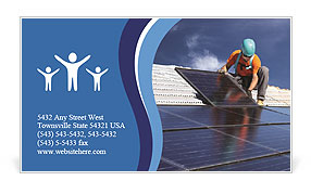 Workers install a solar panel Business Card Templates