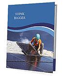 Workers install a solar panel Presentation Folder
