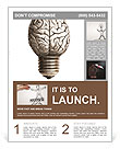 The human brain in the form of light bulbs Flyer Template