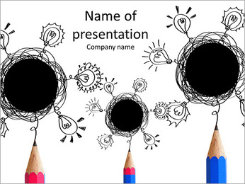 Pencils and abstract drops PowerPoint Template