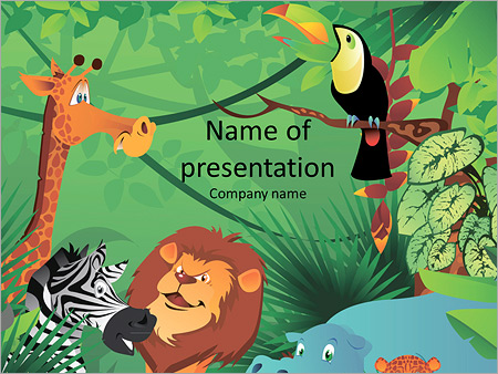 cartoon characters in the jungle powerpoint template backgrounds