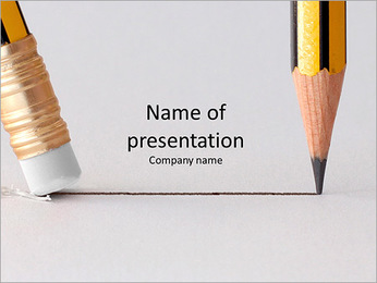 Pencil line and eraser PowerPoint Template