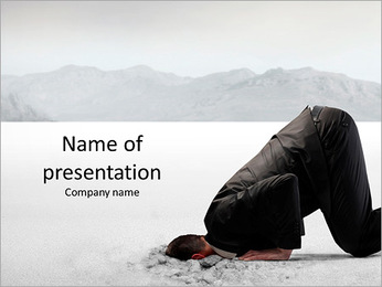 Businessman hiding its head in the sand PowerPoint Template