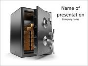 Gold bars inside the safe on a white background PowerPoint Templates