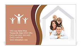 Happy family on a white background Business Card Template
