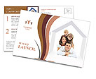 Happy family on a white background Postcard Template