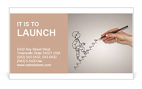 Hand drawing of a man who climbs the stairs Business Card Template