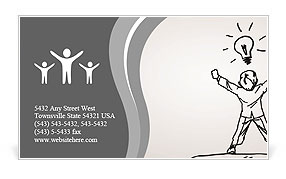 The idea of ​​a man with a drawn Business Card Template