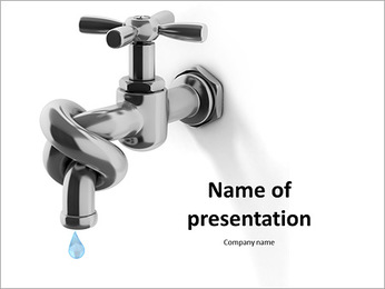 Associated tap into a knot to save water PowerPoint Template