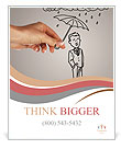 Umbrella drawn human Poster Template