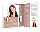 Beautiful girl points finger up Brochure Templates