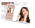 Beautiful girl points finger up Postcard Templates