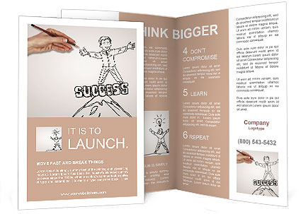 Hand drawing of a successful person brochure template for Successful brochure design