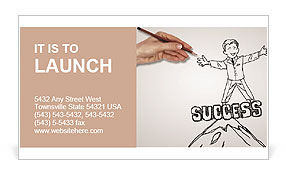 Hand drawing of a successful person Business Card Template