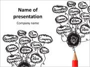 Red pencil with abstract speech on white background PowerPoint Templates