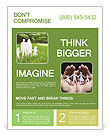 The image of the ideal family on a green lawn Flyer Template