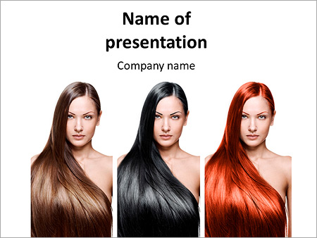 the girls with perfect hair different colors powerpoint template