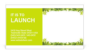Frame of green leaves Business Card Template