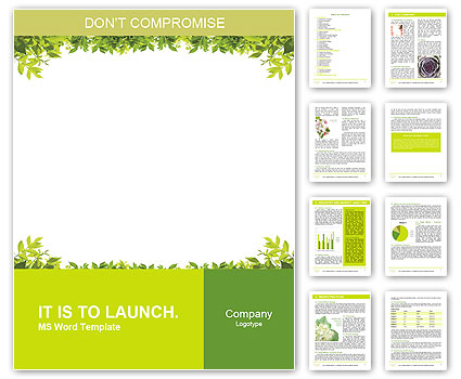 Frame of green leaves Word Template Design ID 0000010648